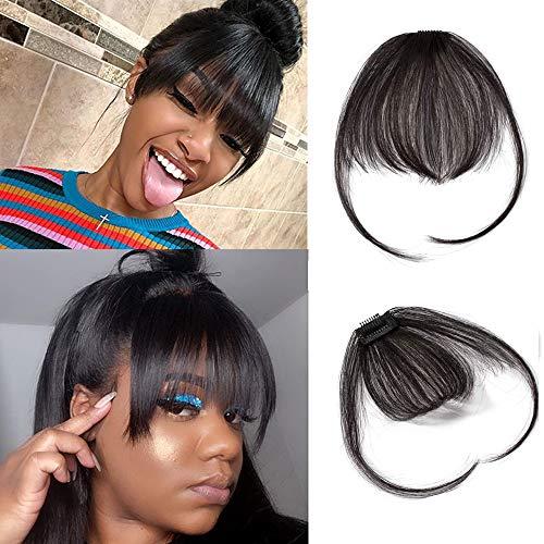 Clip In Air Pony Haarteil Echthaar Naturschwarz #1B Clip in pony - Extensions Echthaar Haarteil Haarverlängerung mit Tempel Ein Stück 3g
