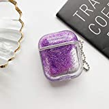 MK Unique Marble Case for AirPods Case Accessories Shockproof Protective Cover Hard Shell Case and Gold Dust Guard 2in1 Compatible with Airpods 1 & AirPods 2 Charging Case (Purple Quicksand)