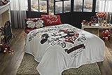 TI Home Set copriletto e lenzuola, motivo personaggi Disney Minnie & Mickey Amour, piqué, 100% cotone, matrimoniale, 4pezzi