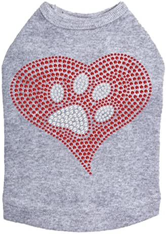 Max 45% OFF Red Heart with Paw #2 2021 spring and summer new - Heather Dog Shirt Gray XL