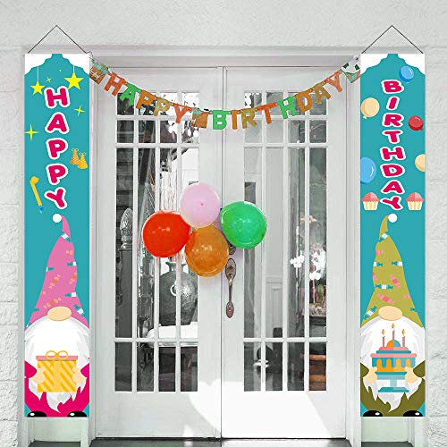 Gehydy Birthday Gnome Porch Banner Front Door Welcome Sign Decoration 2021 New for Birthday Theme Outdoor Indoor Home Party Décor (2 Pcs)