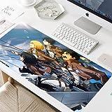 Jocmy Gaming Attack on Titan Alfombrilla XXL 900 x 400 Alfombrilla de ratón para videojuegos, alfombrilla de ratón grande Anime, accesorio de ordenador para oficina (juego de 3,900 x 400 x 3 mm)