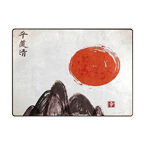 Bereich Teppich, China Stil Mountain Sun Vintage Print Teppich Designer Soft Polyester Große rutschfeste modernes Bad-Teppiche für Schlafzimmer Wohnzimmer Hall Abendessen Tisch Home Decor We