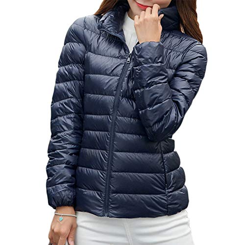 YAOTT Donna Giacche di Piumino Ultraleggeri Slim Trapuntato Giubbotto Inverno Caldo Cappotto Corto Marina Militare M