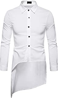 XINHEO Men Long-Sleeve Casual Solid Color Peaked Collar Coattail Dress Shirt