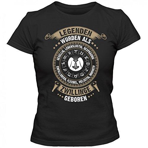 Sternzeichen Zwillinge #2 T-Shirt | Astrologie | Horoskop | Legenden | Frauen | Shirt, Farbe:Schwarz (Deep Black L191);Größe:L