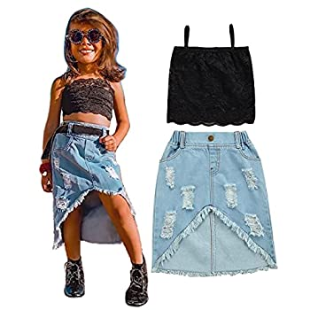 2PCS Toddler Baby Girl Denim Skirt Set Solid Lace Strap Crop Tops + Ripped Denim Mini Skirt Outfits  Black 4-5T