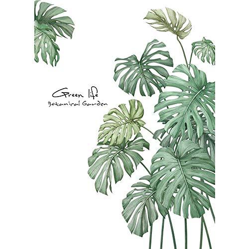 Huante - 1 unidad para bricolaje, diseño tropical, con hoja de palma y plantas, vinilo decorativo (verde)
