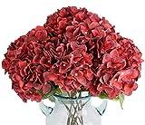 Blooming Paradise Artificial Fake Flowers Plants Silk Hydrangea Arrangements Wedding Bouquets Decorations Plastic Floral Home Kitchen Garden Party Festival Bar DIY (Dark Red,5 Flower Heads)