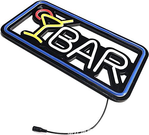 LONGJIQ Cóctel Bar LED Neón Señalización Ventana Decoración Caja de luz Negro Placa de Fondo Bar Pub Decoración de la lámpara de neón Lámpara de Lámpara Ligera Comercial Fantastic