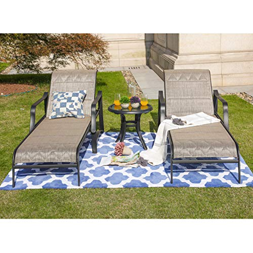 LOKATSE HOME Outdoor Patio Adjustable Metal Chaise Lounge Chair Recliner Set of 2 with 1 Glass Top Bistro Table - Grey