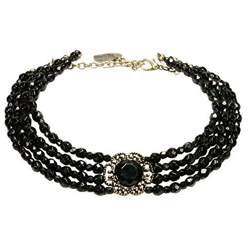 Alpenflüstern noorsk-braccialetto di perle del tallone catena Annie–Elegante speziato, nostalgico collana da donna spatzl in tradizionali colori dhk171, base metal, colore: nero, cod. DHK171-000-00