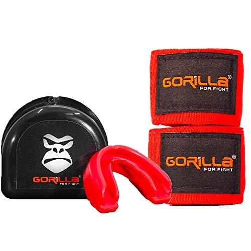 Bandagem Elástica + Protetor Bucal - Muay-Thai Boxe - Gorilla Cor: Vermelho