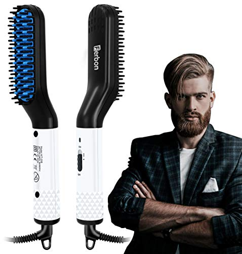 Electric Beard/Hair Straightener Brush Comb, Hot Tools Hair Flat Curling Iron, Fast Shaping for...