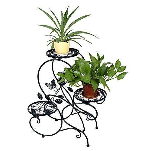 HLC 3 Töpf Metall Blumenständer Blumentreppe Pflanzer, S-förmig Schwarz