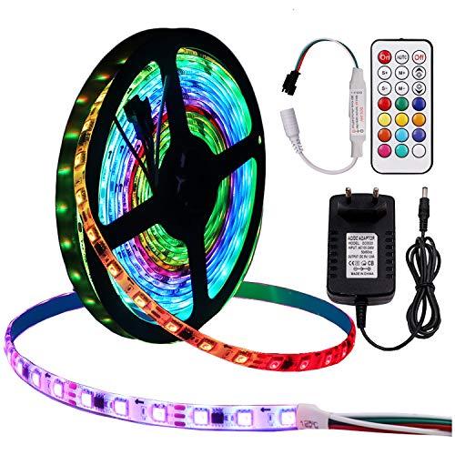 XUNATA Tira de LED RGB Dream Color, Cinta autoadhesiva, SMD 5050, WS2811 IC direccionable, con controlador RF Remote WS2812B y fuente de alimentación DC 12V (1m 60LED, No impermeable)