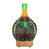 TuCao Diffusore Olio Essenziale Per Aromaterapia, Diffusore di Aromi a Ultrasuoni , Umidificatore Silenzioso con Impostazione de Tempo e 7 Colori a LED Cangianti per Casa e Ufficio 100 ml