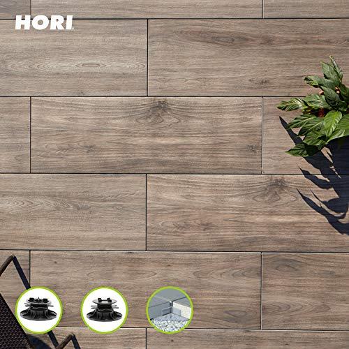 HORI® Terrassenplatte Marrone Braun Feinsteinzeug I Komplettset inkl. Verlegehilfe I Fläche: 4,75 m² I Abstandhalter