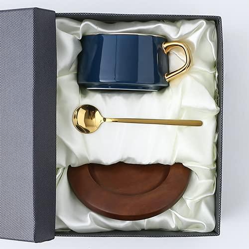CoCaLay Taza de té de Porcelana Juego de Tazas de café para el té de la Tarde + Platillo de bambú(Sapphire Blue)