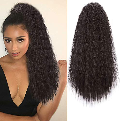 AISI BEAUTY Curly Drawstring Ponytails for Black Women Wavy Ponytail Extension 22 inch Kinky Straight Ponytail Clip on Ponytail(4#)