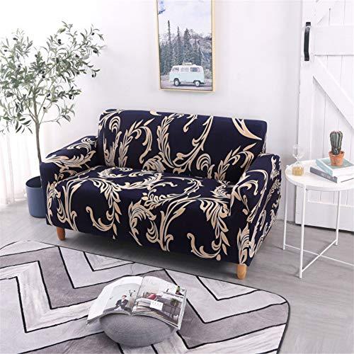 Eck-Stretch-Sofabezug, Rutschfester Polyester-Sofabezug, L-Ecke (1/2/3/4 Sitz Golden Vine Print) 90X140Cm