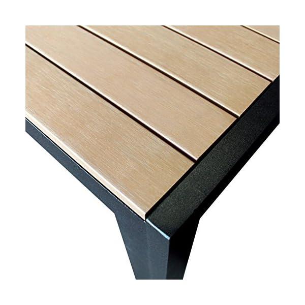 9tlg. Gartengarnitur, Aluminium Gartentisch mit Polywood-Tischplatte 205x90cm + 8x Aluminium-Hochlehner mit 2x2…