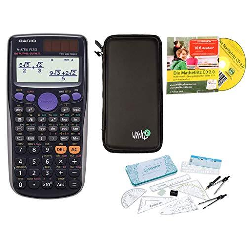 Streberpaket: Casio FX-87DE Plus + Schutztasche + Lern-CD + Geometrie-Set + Erweiterte Garantie