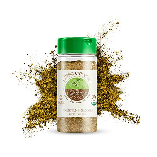 Flavor Seed - Gluten-Free Poultry Seasoning Powder, Anything With Wings Organic Poultry Seasoning, No Additives and Preservatives, 2.6oz Glass Jar