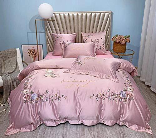 4 Stück Satin Bestickte Spitze Bettwäsche-Sets Kingsize-Bett Größe Bettbezug Spannbetttuch Kissenbezüge Set Von,Purple-220X240