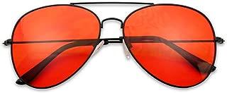 Classic Black Slim Metal Retro Red Colored Tint Transparent Lens Sunglasses