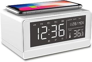 Wireless Charging Alarm Clock Bluetooth Speaker, with FM Radio, USB Interface, TF Card, AUX Input, LED Display, Hands-Free...