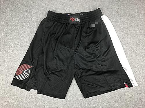 YZQ Pantalones Cortos De Baloncesto para Hombres, NBA Portland Trail Blazers Black Summer City Edition Deporte Shorts Flojo Baloncesto Entrenamiento Deporte Jersey Shorts,Negro,XXL(190CM)