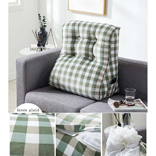 CUSHION MEILING Gestreifte Kissen Gitterkissen Flanell Bett Sofa Nackenschutz Kissen Dreieck Große Rückenlehne Lumbar (Farbe : Green, größe : 45cm)
