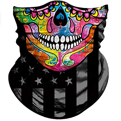 Obacle Motorcycle Face Mask Sun UV Dust Wind Protection Tube Mask Seamless Bandana Skeleton Face Mask for Men Women Bike Riding Cycling Biker Fishing Outdoor Festival (Colorful Skull Flag)