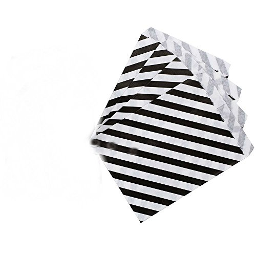 AKOAK 50 Pcs 5 x 7 Inches White and Black Striped Paper Bags,Holiday Wedding Christmas Favor Candy Treat Bags