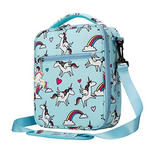 Ligero Bolsa del Almuerzo Bolso de Mano Brandd Food Safe Fashion Kids Thermal Food Cooler Bag Fitness BPA Free Children Dibujos Animados Unicorn Box Bag para niñas (Color : Hot Pink)