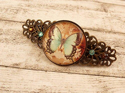 Kleine Haarspange mit Schmetterling in mintgrün