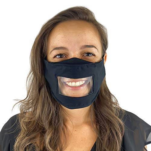 No Fog See Through Face Mask with Clear Window - Unisex Transparent Face Mask Reusable - Comfortable Cotton Face Mask Transparent (One Size, Deep Black)