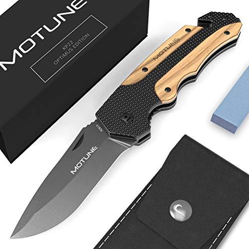 MOTUNE® Zweihand Klappmesser 3-in-1 KP22 - Scharfes Taschenmesser mit Holzgriff - Zweihandmesser mit Titaniumklinge aus Edelstahl - Survival-Messer & Outdoor-Messer mit Schleifstein & PU-Gürteltasche