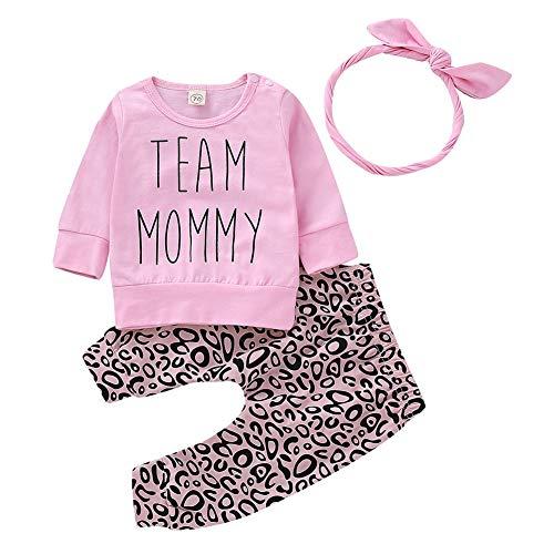 Geagodelia Baby Mädchen Langarmshirts Sweatshirt + Leopardenmuster Lang Legging Hosen Sommer Kleidung Set 0-4 Jahre Neugeborene Festlich Hochzeit Outfit Set (Pink-b, 0-6 Monate)