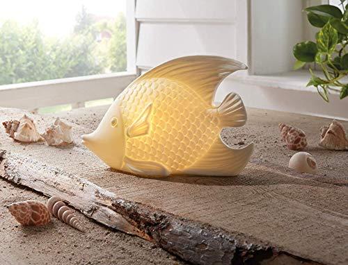 Deko-Figur Fisch aus Porzellan mit LED Beleuchtung, Creme-weiß, Batterie-betrieben, Deko-Leuchte, maritim