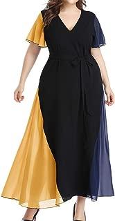OULSEN Latest Fashion Long Dress For Women V Neck Short Sleeve Elegant Fashion Patchwork Chiffon Maxi Dresses Plus Size