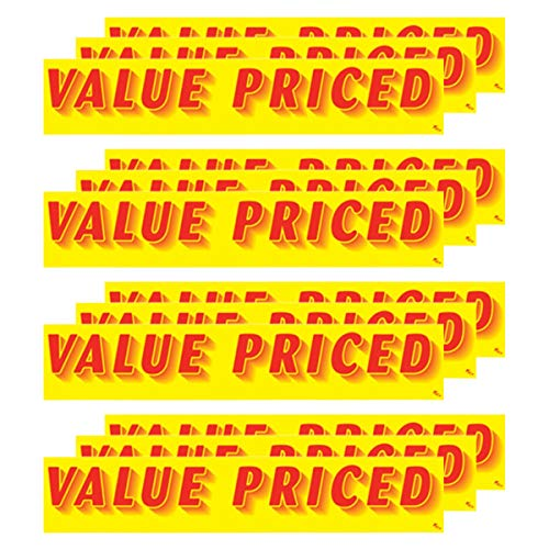 VERSA-TAGS 14.5 Inch Red & Yellow Adhesive Windshield Slogan Car Dealer Sticker - Value Priced