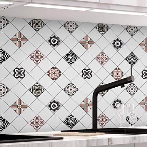 Fliesenaufkleber selbstklebende, Mosaikfliesen Tapeten für Bad und Küche, PVC 61 x 500cm Fliesensticker Wandfliesen Wandaufkleber Fliesendekor Fliesenfolie in Badzimmer Typ-A