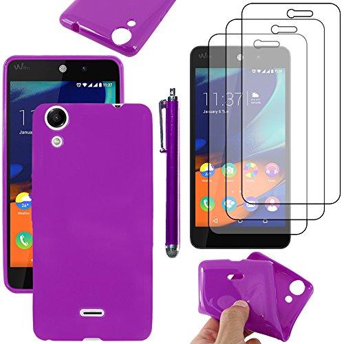 ebestStar - Coque Compatible avec Wiko Rainbow Lite 4G Etui Housse Silicone Gel TPU Souple Anti-Choc + Stylet + 3 Films d'écran, Violet [Appareil: 143 x 71.2 x 9mm, 5.0'']