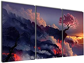 Gardenia Art - Magic Cherry Tree in Volcanoes Canvas Prints Modern Wall Art Paintings Stretched and Framed Artwork for Room Decoration,16X24 inch