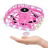 Tcvents UFO Drone for Kids and Adults, Hand Operated Flying Saucer Toy Mini Drones with LED Light 360°Rotating & Music Function, Hand Free Drone, Flying Toys for 6 7 8 9 10+ Years Old Girls Gift, Pink