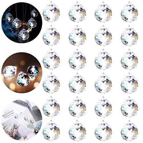 Herefun Regenbogenkristall Deko, 24PCS Kristallglaskugel, Regenbogenkristall Kristallkugeln, Kristall Glas Kugel, Kristallkugeln Schmuck für Prisma Deko, Aufhängen Kronleuchte Deko