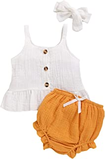 Camidy 3pcs Newborn Girls Clothes Suit Strappy Shirt Short Pants + Headband 0-18 Months
