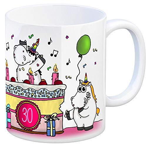 Kaffeebecher mit Einhorn Geburtstagsparty Motiv zum 30. Geburtstag Tasse Kaffeetasse Becher mug Teetasse Büro Unicorn Einhorngeschenk lustig witzig Spruch Einhorntasse kuscheln niedlich Torte Party